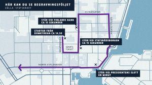 karta över begravningsföljets rutt vid Mauno Koivistos begravning