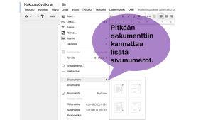 Näyttö kuva Google docs sivunumerovalikosta, kuvassa lila kupla, jossa testi Pitkään dokumenttiin kannattaa lisätä sivunumerot