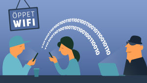 Grafiikkakuva 3 hahmosta avoimen wifi-verkon äärellä, tietoa siirtyy urkkijan koneelle.