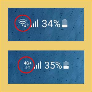 Kännykän näyttöä, mobiilidata päällä ja sen merkkinä H-kirjain. Myös wifin symboli kuvassa.