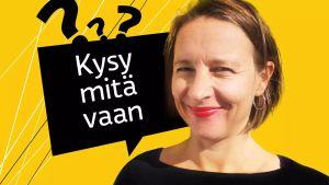 Kysy mitä vaan -ohjelmakuvassa toimittaja Mira Selander