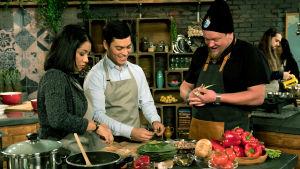 Ville Haapasalo sekä costaricalaiset Daniel, Kimberly, Isaura ja Esteban Villen keittiössä.