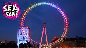 london eye upplyst i regnbågens färger