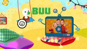 Buu-appen med Buu-stämpeln som gungar och en kansig teveapparat där Buu-ledarna syns.