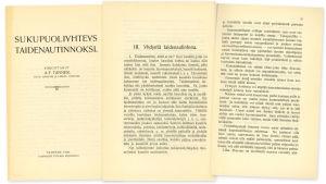 A.F. Tannerin kirjoittama Sukupuoliyhteys taidenautinnoksi -opas vuodelta 1909.