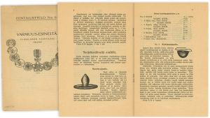 Parisilaisen tuontiliikkeen Varmuus-esineitä -hintaluettelo vuodelta 1916