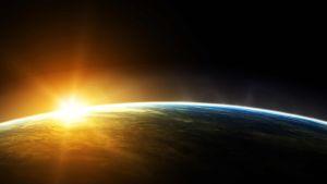 sunrise behind the earth