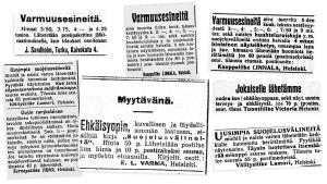 Ehkäisyvälineiden myynti-ilmoituksia 1910-luvun lehdistä.
