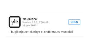 Kuva AppStoren Yle Areena -päivitysen sisällöstä. Teksti Bugikorjaus: tekstitys ei enää muutu mustaksi