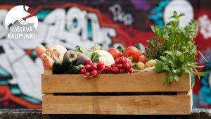 Puinen laatikko on täynnä vihanneksia. Taustalla on graffitiseinä.