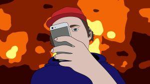 Piirroksessa poika näppäilee puhelintaan