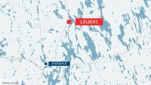 En karta som med en röd banner markerar var Laukas ligger, och med en blå var Jyväskylä ligger.