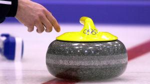Curling-kivi jäällä olympialaisissa.
