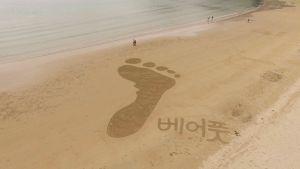 Fotavtryck i sanden.