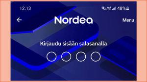 Nordean mobiilipankin kirjautumisnäkymä, kirjautuminen salasanalla.