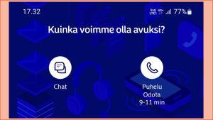 Kuvakaappaus Nordean mobiilisovelluksesta: Kerrotaan jonotusaika asiakaspalveluun.