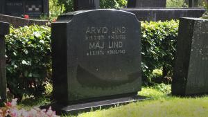 Arvid ja Maj Lindin hauta Hietaniemen hautausmaalla Helsingissä.
