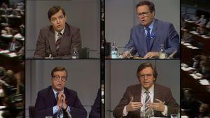 Ministerit vuonna 1983 vaaliväittelyssä. Taustalla kuvaa eduskunnasta.