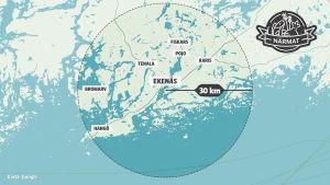 Karta med en radie för projekt Närmat i Ekenäs