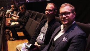 Timo Asikainen ja Niklas Pokki Maj Lind -kilpailun katsomossa 2017