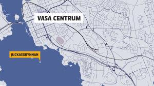 Karta som visar Jukkasgrynnan utanför Vasa