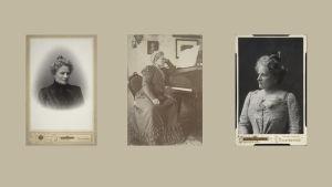 Mezzosopraano ja musiikkipedagogi Alexandra Ahnger studiovalokuvissa arviolta vasemmalla 1890-luvulla, keskellä 1920-luvulla ja oikealla 1900-luvun alussa