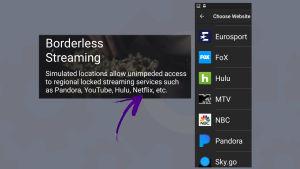 Kuvakaappaukset vpn-sovellus Cyberghostista: Lupaa rajatonta Netflixiä, mutta kanavlistalta Netflixiä ei löydy.