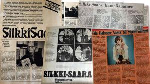 Silkki-Saara -elokuvaa ja kirjoja käsitteleviä lehtiartikkeleita 1970-luvulta.