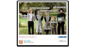 Naurunappula -sivulla kommentoitiin vuoden 2015 kansanedustajia Amish-henkisellä meemillä
