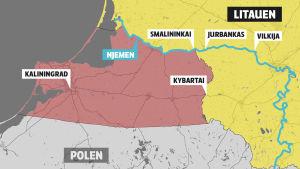 Karta över södra Litauen, Kaliningrad och krigsövningsområde, Zapad 2017
