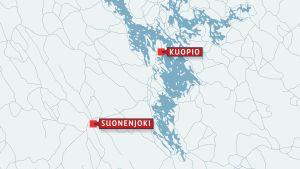 Karta med Suonenjoki och Kuopio.