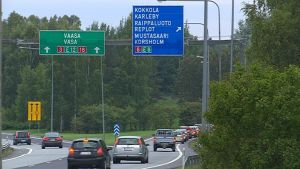Kö på avfart från Vasa motorväg