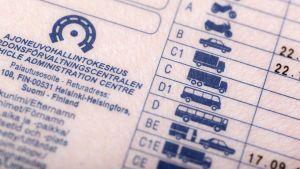 Lähikuva ajokortista, jonka takapuolella näkyy eri ajokorttiluokat.