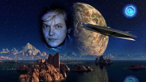 Näkymä planeetalle, miehen kasvot ja lentävä avaruusalus.