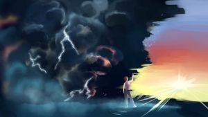 grafiikkaa, nainen ja salamoiva taivas