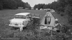 Ford Anglia leirintäalueella, kupoliteltan edessä mies retkipöydän ääressä uimahousuisillaan.