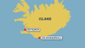 Glaciären Sólheimajökull på karta