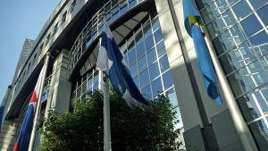 Europan parlamentin rakennus ulkoa keväällä 2017.