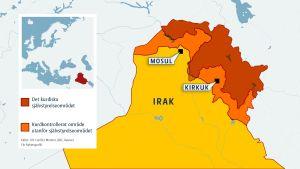 Karta över norra Irak och Kirkuk.