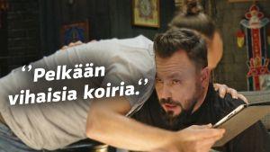 Riku Rantala ja Tunna Milonoff halaavat