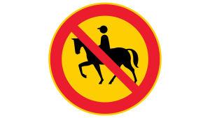 Förbjudet att rida-trafikmärke.