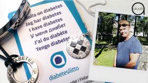 Minulla on diabetes -tunnisteita ja tuottaja Mats Långbacka.