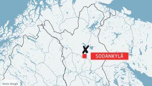 Karta över norra Finland och angränsande områden.