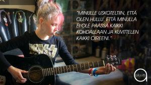 Angelina Lampinen soittaa kitaraa