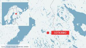 Karta över Finland. där Sotkamo finns inprickat.