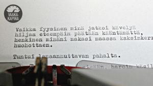 Tekstiä kirjoituskoneessa