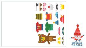 Tulostettava taitettava joulukortti karhun pukeminen
