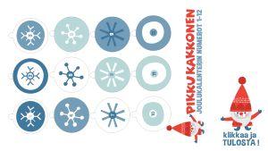 Tulostettavat joulukuusikalenterin luukut rulliin 1-12