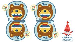 Pikku Kakkosen tulostetta hammasharjauskortti 2 kpl