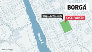 Karta över Lyceiparken i Borgå